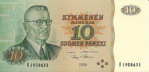 Korvaava 10 markan seteli vuodelta 1980 ilman tähteä